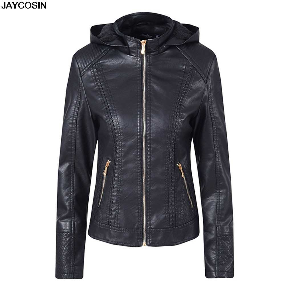 JAYCOSIN 2019 Gothic faux leather Jacket Women hoodies Winter Autumn Motorcycle Jacket Black Outerwear faux PU Jacket Coat 9823