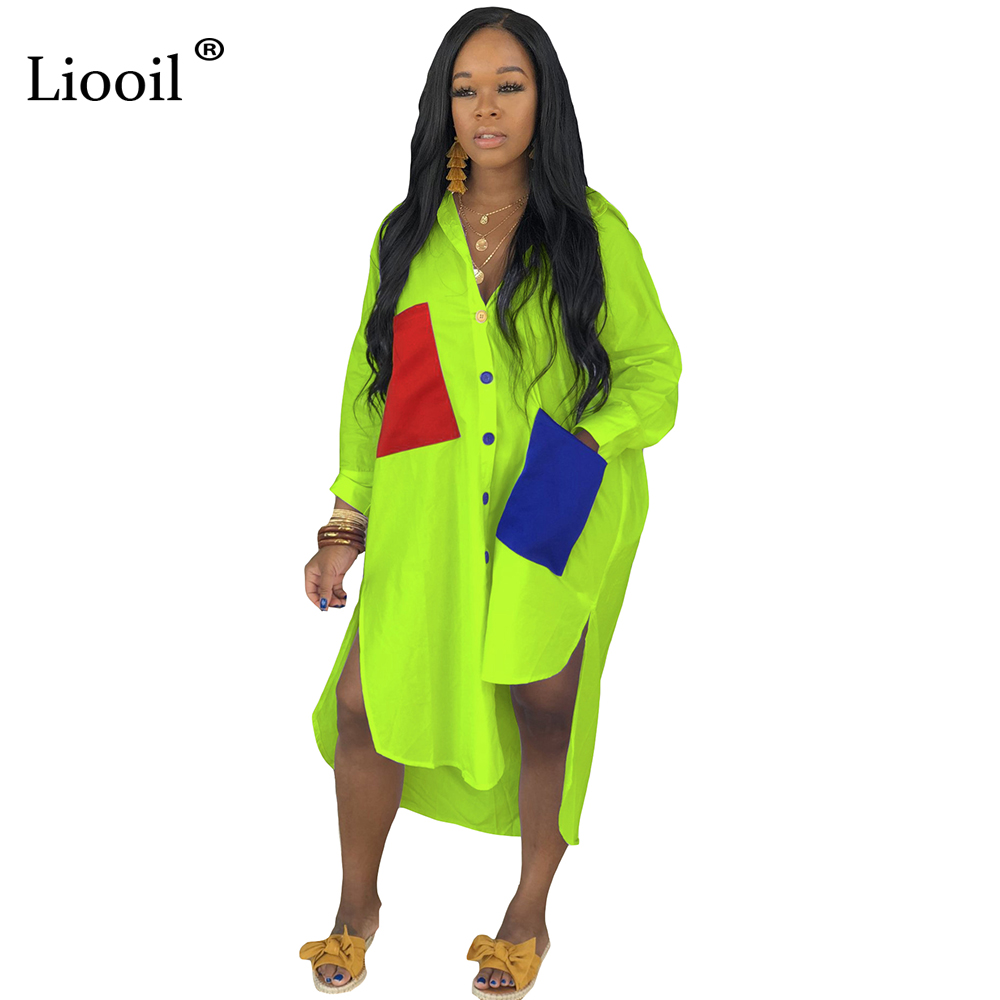 Liooil Patchwork Loose Maxi Shirt Dress New Arrival 2020 Plus Size Green Dress Sexy Club Wear Long Dresses Woman Party Night