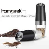 Homgeek Salt Pepper Mills Portable Automatic Electric Gravity Pepper Grinder Electric Pepper Grinder Kitchen Cooking BBQ Tools