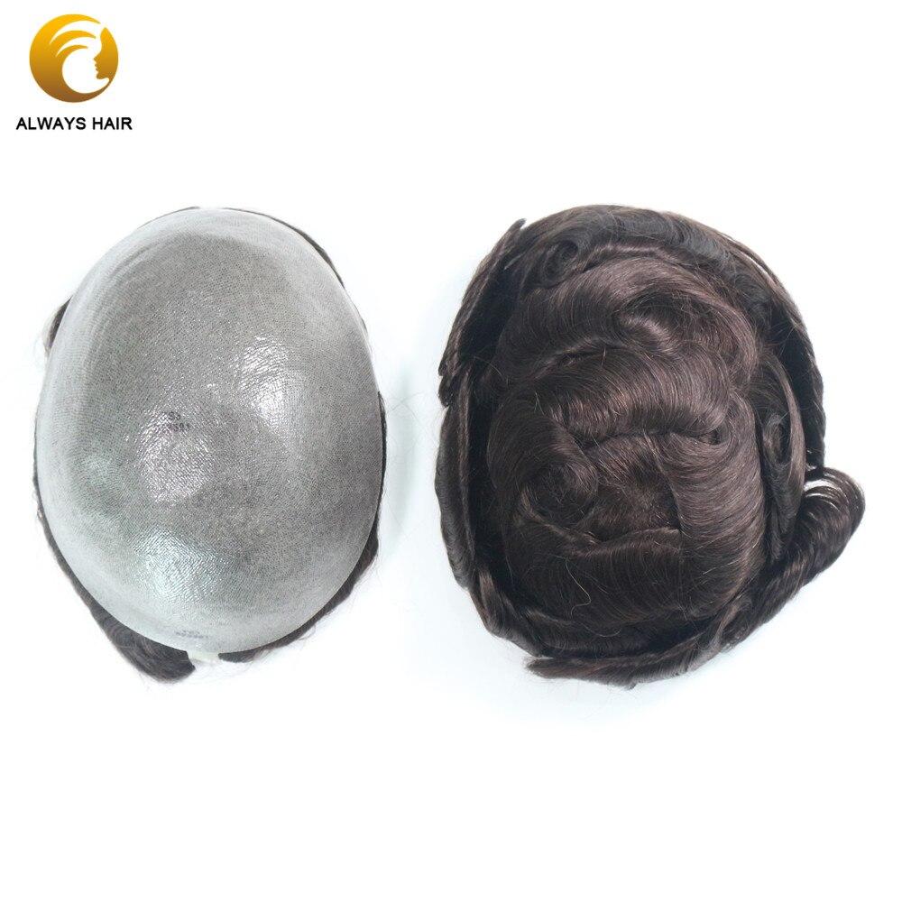 Natural Hairline 0.08-0.1 Mm Polyskin Thin Skin Toupee 6