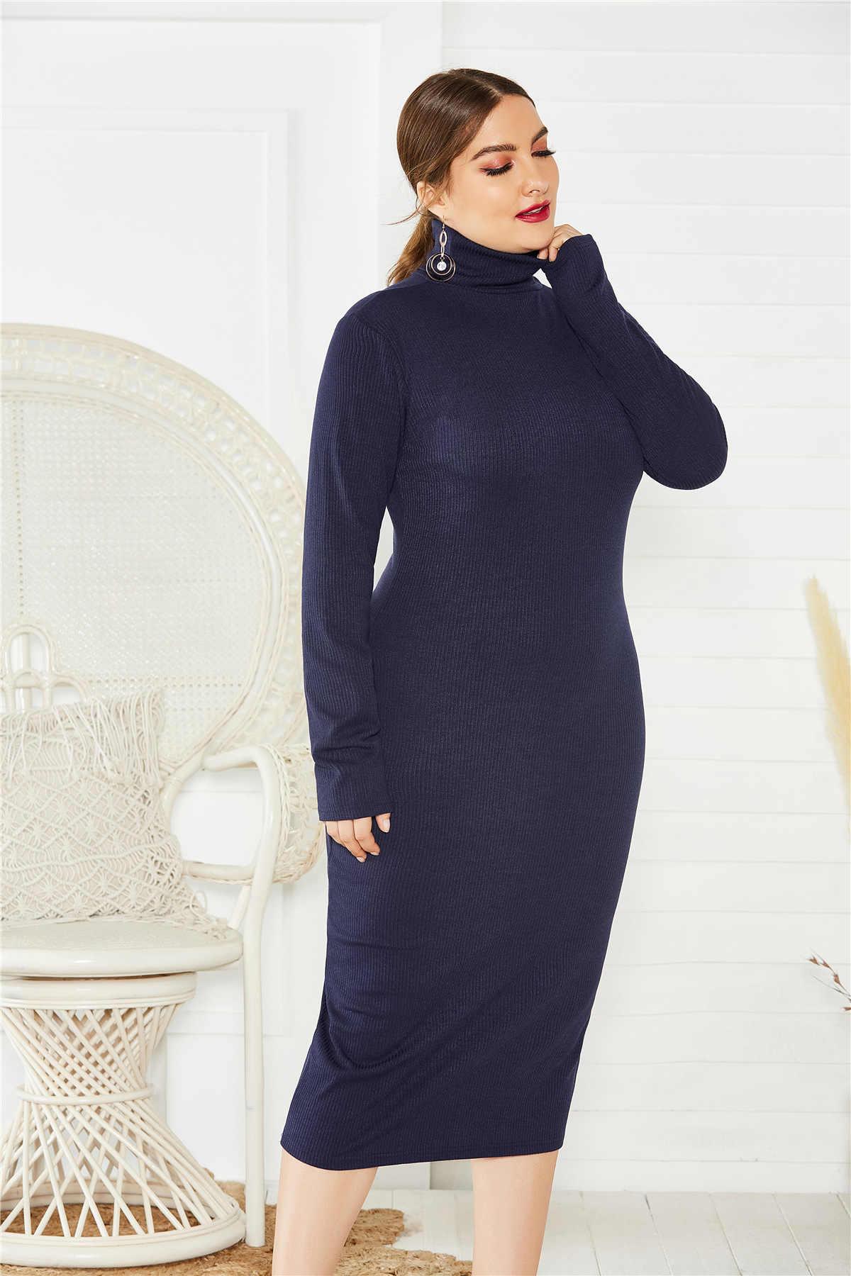Plus rozmiar 5XL sweter z dzianiny sukienka damska z golfem rozciągliwa, dzianinowa sukienka sweter damska maksi duże rozmiary Strech Sexy sukienki