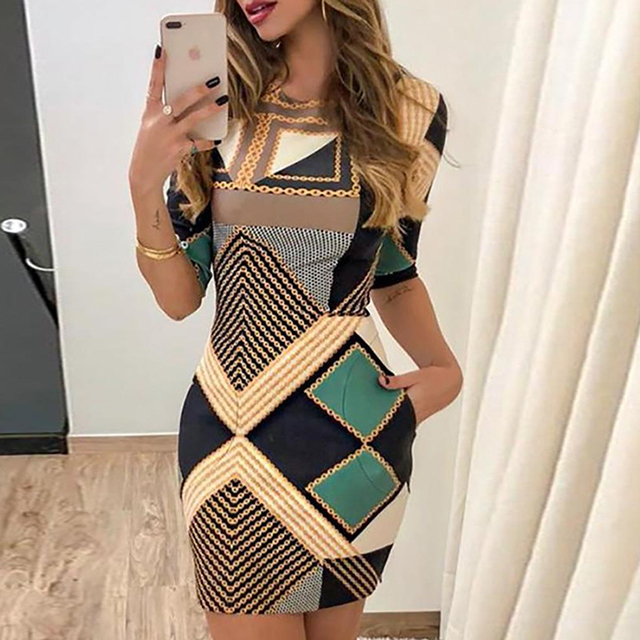 new elegant dress fashion print short-sleeved slim round neck dress ladies spring and autumn mini dress 2