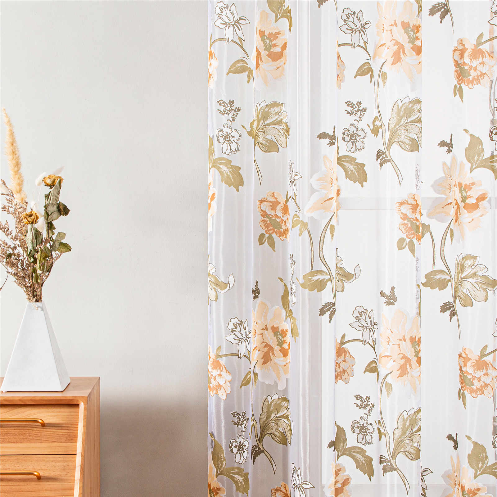 Top Finel Floral Sheer Window Curtains For Kitchen Living Room Bedroom Tulle Curtains Drapery Home Decor Room Divider 1 Panel Sheer Window Curtain Curtains Forwindow Curtains Aliexpress