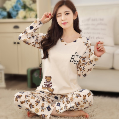 Pajamas Female Spring Home Wear Pure Cotton Sweet Hugh Autumn Summer Korean-style Women's Homebound Large Size Thin