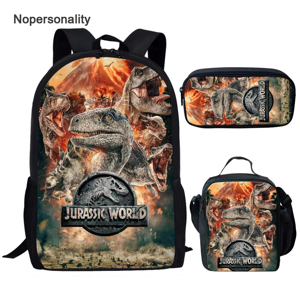 Nopersonality Cool T-rex Dinosaur School Bags Set Bookbags For Teenage Boys 3pcs Primary Backpack With Lunch Box Pencil Bags