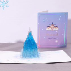 3D Handmade Hollow Carving PVC Dream Crystal Castle Pop Up Paper Greeting Cards Best Wish PostCard Kids Birthday Party Gift