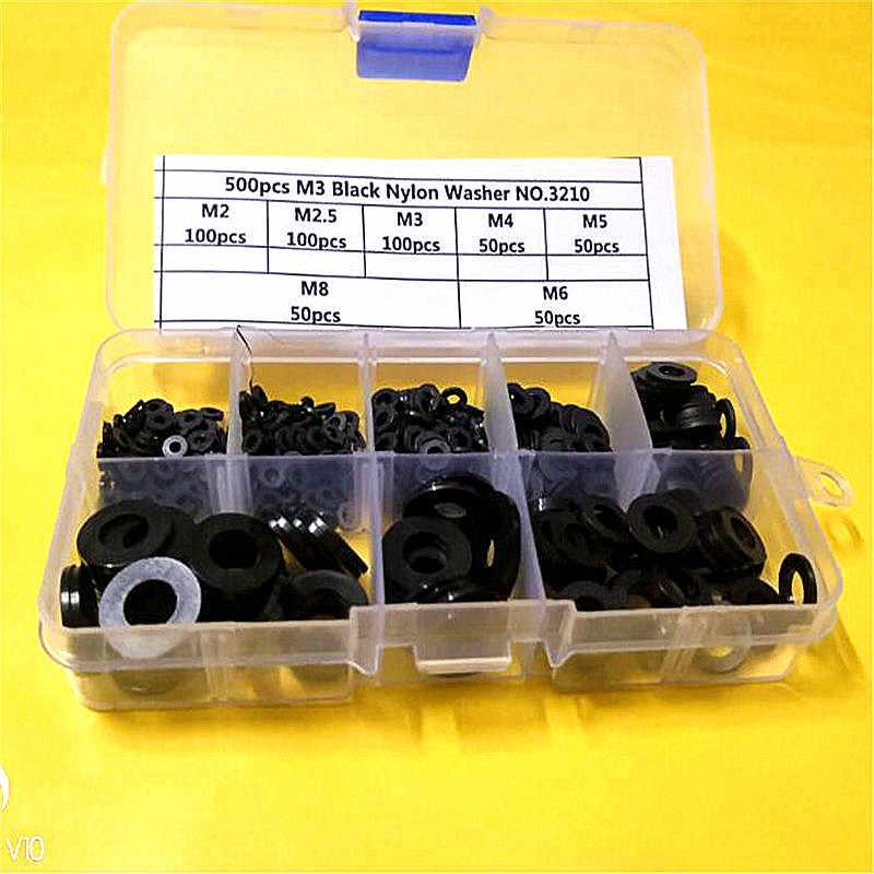 20-500 PCS M2 M2.5 M3 M4 M5 M6 M8 M10 M12 สีดำและพลาสติกไนลอนสีขาวปะเก็นเครื่องซักผ้าชุดแหวน