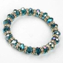FREE SHIPPING!WHOLESALE 10PCS/LOT BLUE CRYSTAL GLASS CLEAR RHINESTONE ELASTIC BRACELET(gcb1009)