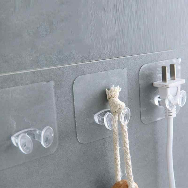Plug Houder Socket Haak Transparante Zelfklevende Deur Muur Hangers Handdoek Handtas Haken Plug Haak Keuken Badkamer Accessoires
