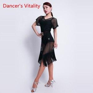 Image 4 - Ballo latino Vestiti di Prestazione Femminile di Usura New Sexy Scollo A V Abbigliamento Pratica Hollow di Formazione Latino Nappa Orli Del Vestito