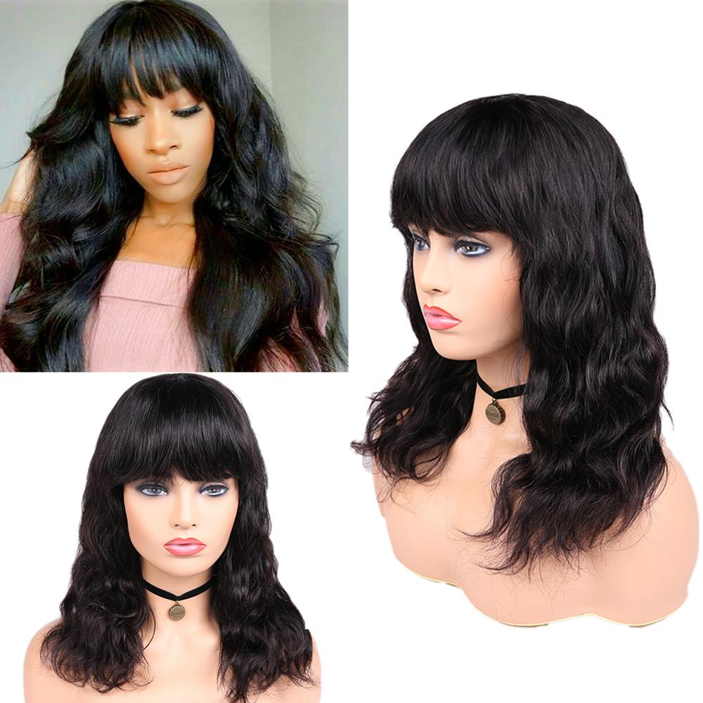 FAVE Brazilian Human Hair Wigs Body Wave With Bangs Wig Natural Black 150% Density 12-18