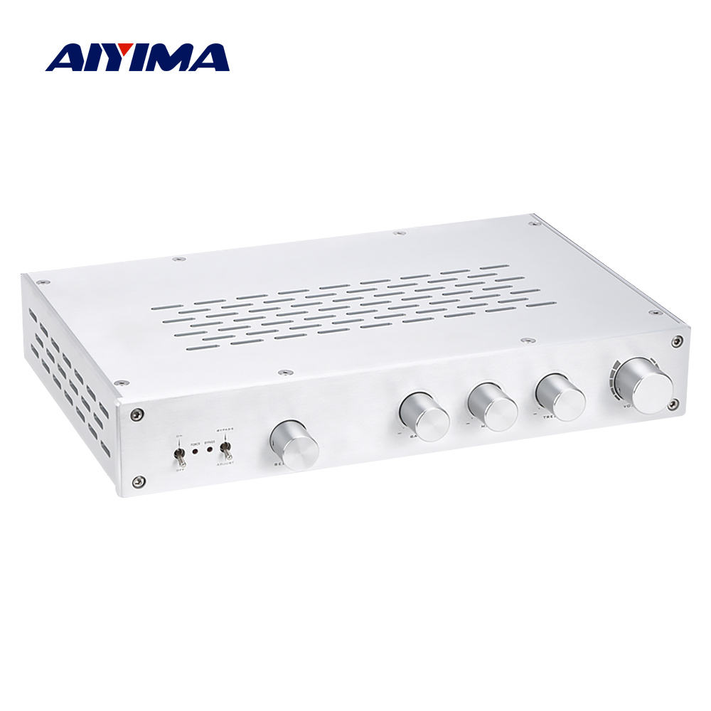 AIYIMA HiFi Class A Preamp Amplifier Treble Midrange Bass Independent Tone Volume Control Preamplifier 4 Way Input Home Theater