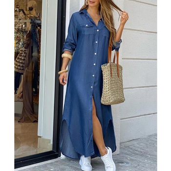 Summer Asymmetrical Hem Long Dress Women Denim Button Through Slit Shirt Dress pocket patched plaid curved hem shirt dress