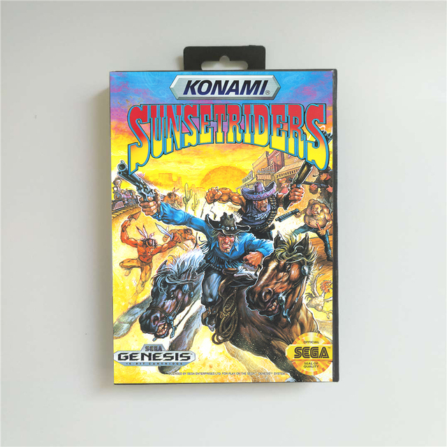 Sunset Riders   USA Cover With Retail Box 16 Bit MD Game Card for Sega Megadrive Genesis Video Game Console