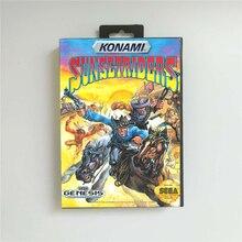 Sunset riders eua capa com caixa de varejo 16 bit cartão de jogo md para sega megadrive genesis console de jogos de vídeo