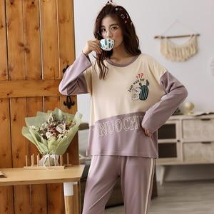 Image 5 - Womens Pajamas Sets Long Sleeve 100% Cotton Pajamas Suit Women Autumn Cactus Print Casual Sleepwear 5XL Pyjamas For Female