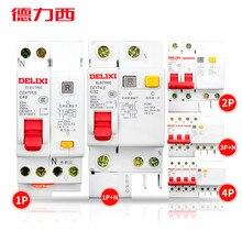 Delixi dz47sle 1p + n 2p 3 p + n 4 p 10-100a400 v residual mini disjuntor sobrecarga cura proteção contra fuga