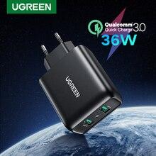 UGREEN 빠른 충전 3.0 QC 36W USB 충전기 아이폰 QC3.0 에 대 한 빠른 충전기 삼성 s10 Xiaomi mi 9 전화 충전기에 대 한 벽 충전기