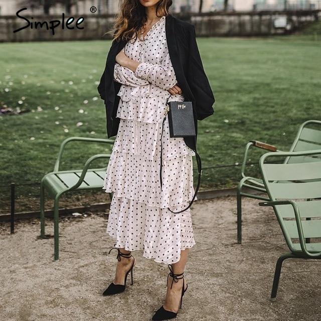 Simplee Elegant polka dots ชุดสตรีแขนยาวยาวเค้กหญิง Vintage สุภาพสตรีชุดราตรี vestidos