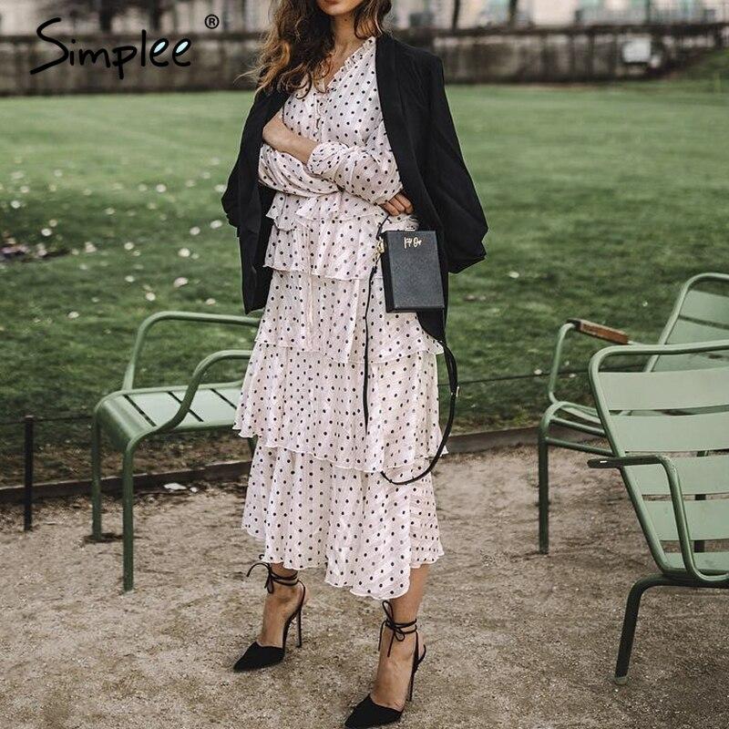 Simplee Elegant Polka Dots Dress Women Long Sleeve Ruffled Long Cake Dresses Female Vintage Ladies Evening Party Dress Vestidos