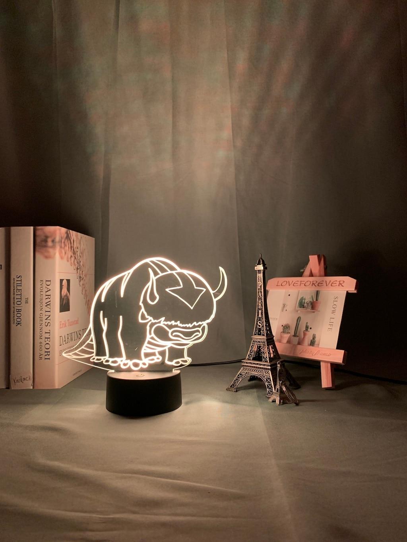 H43745f6be6e04379b35bed5d629393d20 Luminária Acrílico 3d Lâmpada Nightlight Avatar The Last Airbender para As Crianças Decoração Do Quarto Da Criança A Lenda de Aang Figura Mesa Appa luz da noite