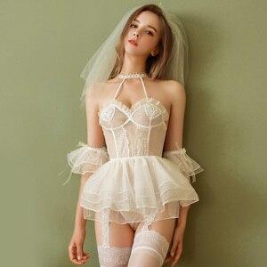Сексуальное женское белье, женское Ночное платье, газовое искушение, ночная рубашка для невесты, медовый месяц, вышивка, ультра короткое ноч...