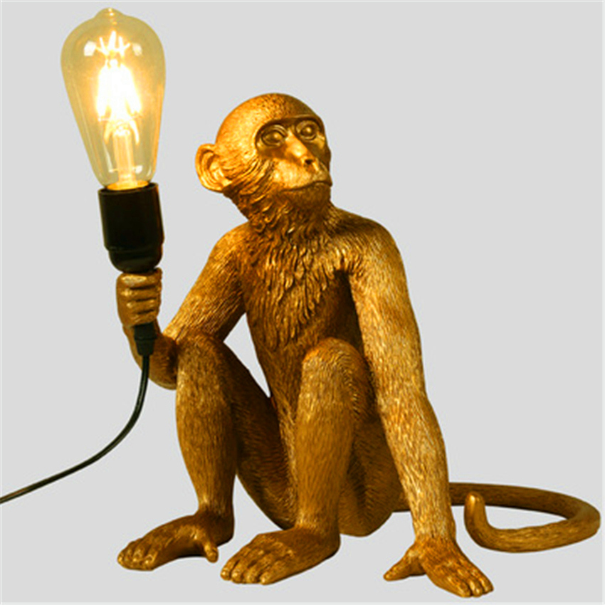 Nordic Gold Resin Monkey Lamp Pendant Lights Living Room Restaurant Pendant Lamp Bedroom Luminaire Kitchen Suspension Lighting