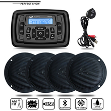 Marine Radio Audio Stereo Boat Bluetooth MP3 Player FM AM Sound System Receiver+2Pairs 4 inch Waterproof Speaker+USB Audio Cable