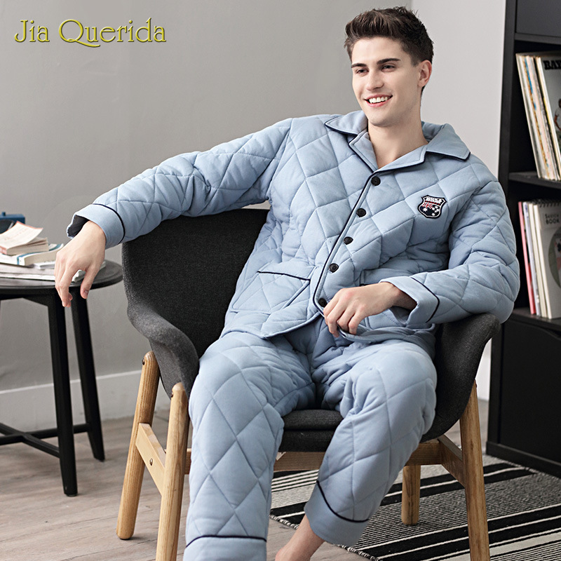 Mens Pyjama Winter Cotton Pajamas Sleeping Suits For Men Long Sleeves Cardigan Button Top + Trousers 3 Layer Padded Pajamas Man