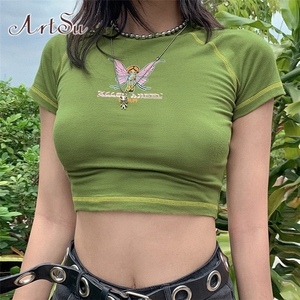 ArtSu E-girl Butterfly Graphic and Letter Printing Stitch Green Crop Tops Y2K Summer Grunge Style O-neck Short Sleeve T-shirts(China)