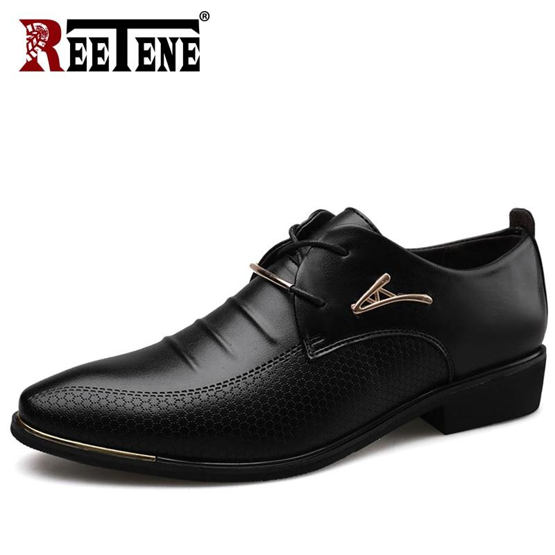 REETENE Men'S Leather Formal Shoes Lace Up Dress Shoes Oxfords Fashion Retro Shoes Elegant Work Footwear Men Dress Shoes