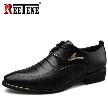 REETENE de los hombres zapatos de cuero Formal vestido con cordón zapatos Oxfords moda Zapatos Retro ZAPATOS DE TRABAJO elegante calzado zapatos de vestir de los hombres