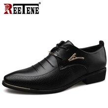 REETENE hommes en cuir chaussures formelles chaussures habillées Oxfords mode chaussures rétro chaussures de travail élégantes hommes chaussures habillées