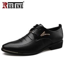 Reetene メンズレザーレースアップドレスシューズオックスフォードファッションレトロ靴エレガントな作業靴男性ドレスシューズ