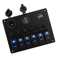 6 Gang Rocker Switch Panel for RV Marine Boat, Waterproof Digital Voltmeter & Dual USB Ports
