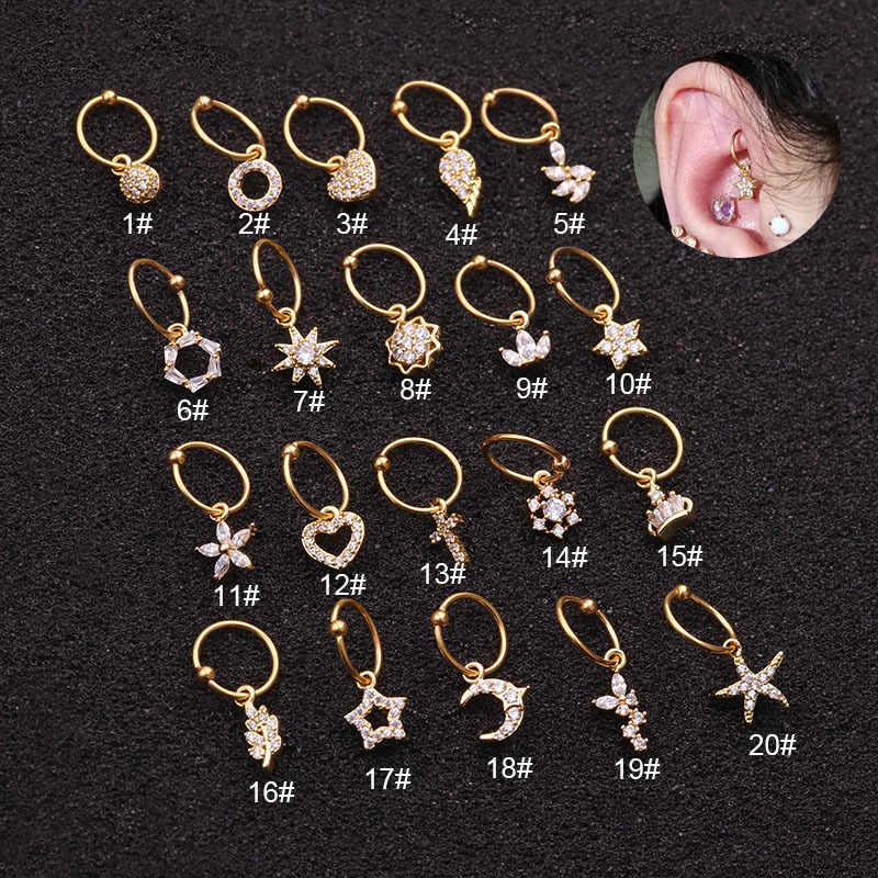 20 รูปแบบจี้ CZ Dangle Hoop ต่างหูกระดูกอ่อน Helix Tragus Rook กลีบหูเจาะเครื่องประดับของคุณเสร็จสิ้น