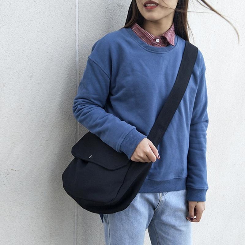 Korean version of Sen's casual messenger bag simple literature style Canvas Shoulder Bag Fashion versatile women's bag