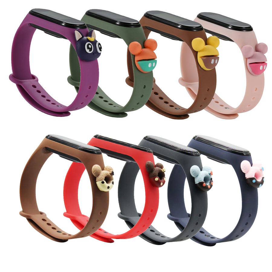 For Mi band 4 3 cartoon Bracelet Smart Watch Strap Replaceable For Xiaomi Mi Band 6 5 4 Strap silicone Bracelet Sport Wristband