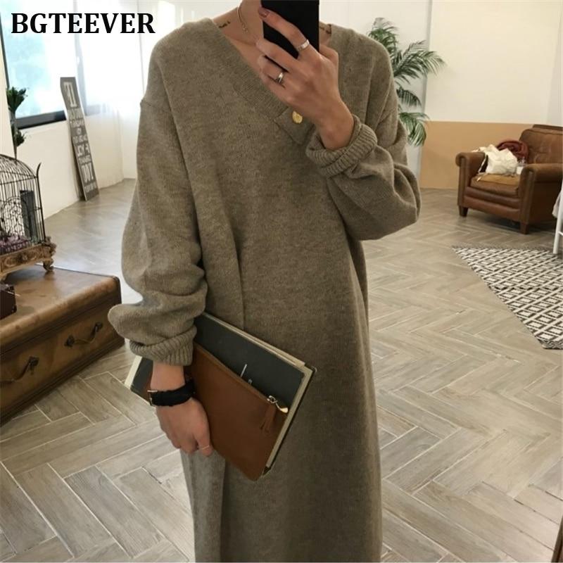 BGTEEVER Chic Oversize Thick Long Sweater Dress Women V-neck Autumn Winter Straight Sweater Dress Female Casual Loose Knit Dress