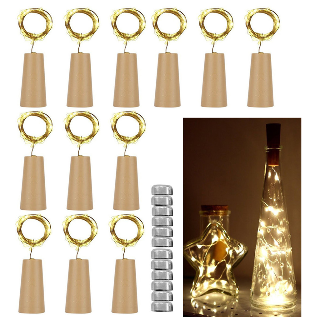 12Pcs Cork Shaped LED Night Light Star Light Wine Bottle Lamp For Party Decor Home Decoration Lamp Home Office Decoration Gifts