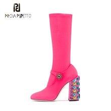 Perfetto Prova colorido de cristal decor praça calcanhar meados de bezerro botas mulheres rodada toe trecho meia botas senhoras sapatos de casamento festa