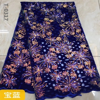 2020 Sequins Velvet Lace Fabric High Quality African Lace Fabric Sfot French Lace Fabric For Wedding Daily Wear