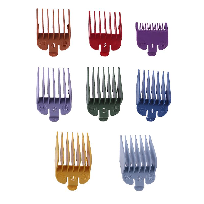 8P Universal Hair Clipper Limit Comb Guide Attachment Size Barber Replacement For Wahl With Clip 3171/500 1/8in To 1in Set 4XFB