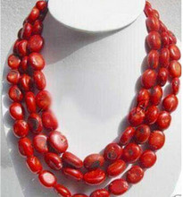 +++906 Long 50'' beautiful Fashion Jewelry red Coral Necklace(China)
