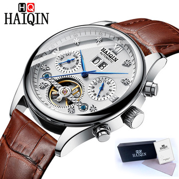 HAIQIN Tourbillon Mechanical Watch Men Automatic Watches Mens Top Brand Luxury Classic Leather Wrist Watches Relojes Hombre 2019 haiqin men s mens watches top brand luxury watch men mechanical military waterproof wristwatch mens tourbillon reloj hombre 2019