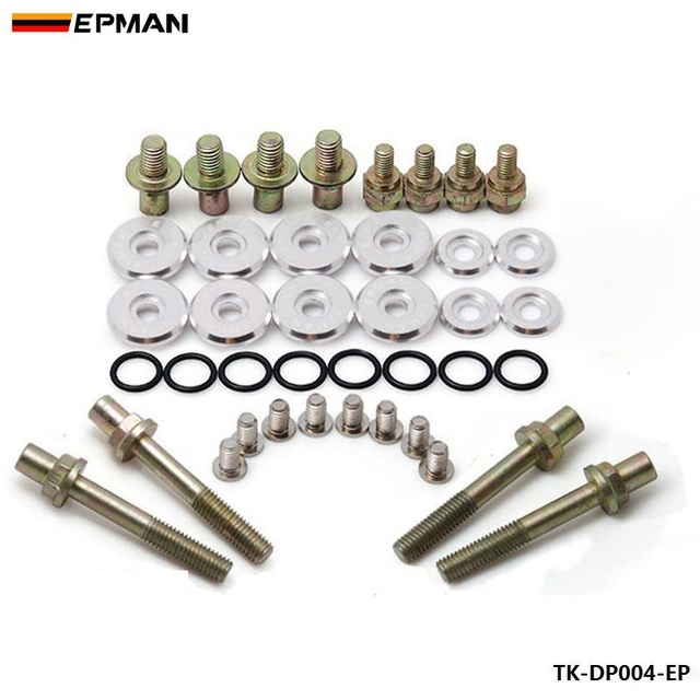 EPMAN For B-Series Vtec Low-Profile Anodise Aluminum Racing Valve Cover Hardware Grey