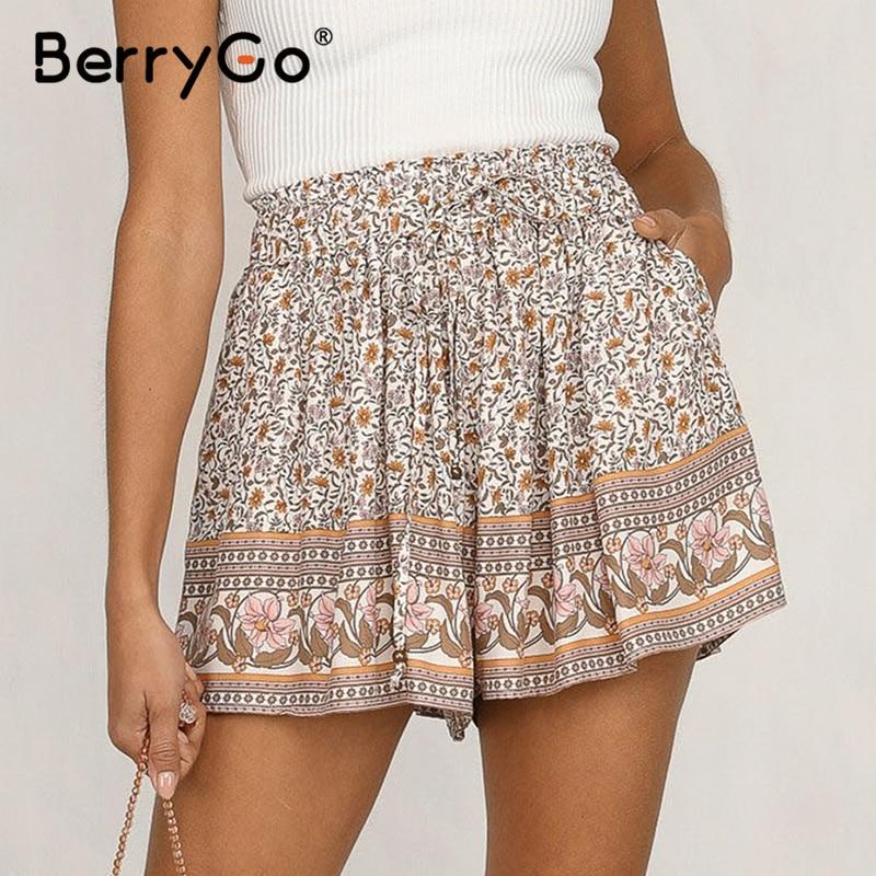 BerryGo Bohemian Floral Print Women Shorts High Waist Elastic Tie Up Summer Casual Shorts Beach Ladies Cotton Shorts Female 2020