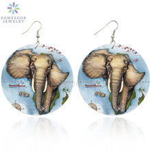 Somesoor печать афро слон деревянные висячие серьги Африканские