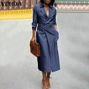 2020 Autumn Dress Women V Neck Denim Blue Sundress Casual Short Sleeve Party Short Vestidos VONDA Female Robe Plus Size casual round neck short sleeve plus size denim dress for women