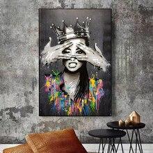 Абстрактный корона для девочек портретный плакат холст картины домашнего декора настенной платье в стиле «граффити» Бэнкси Поп Арт Плакат...